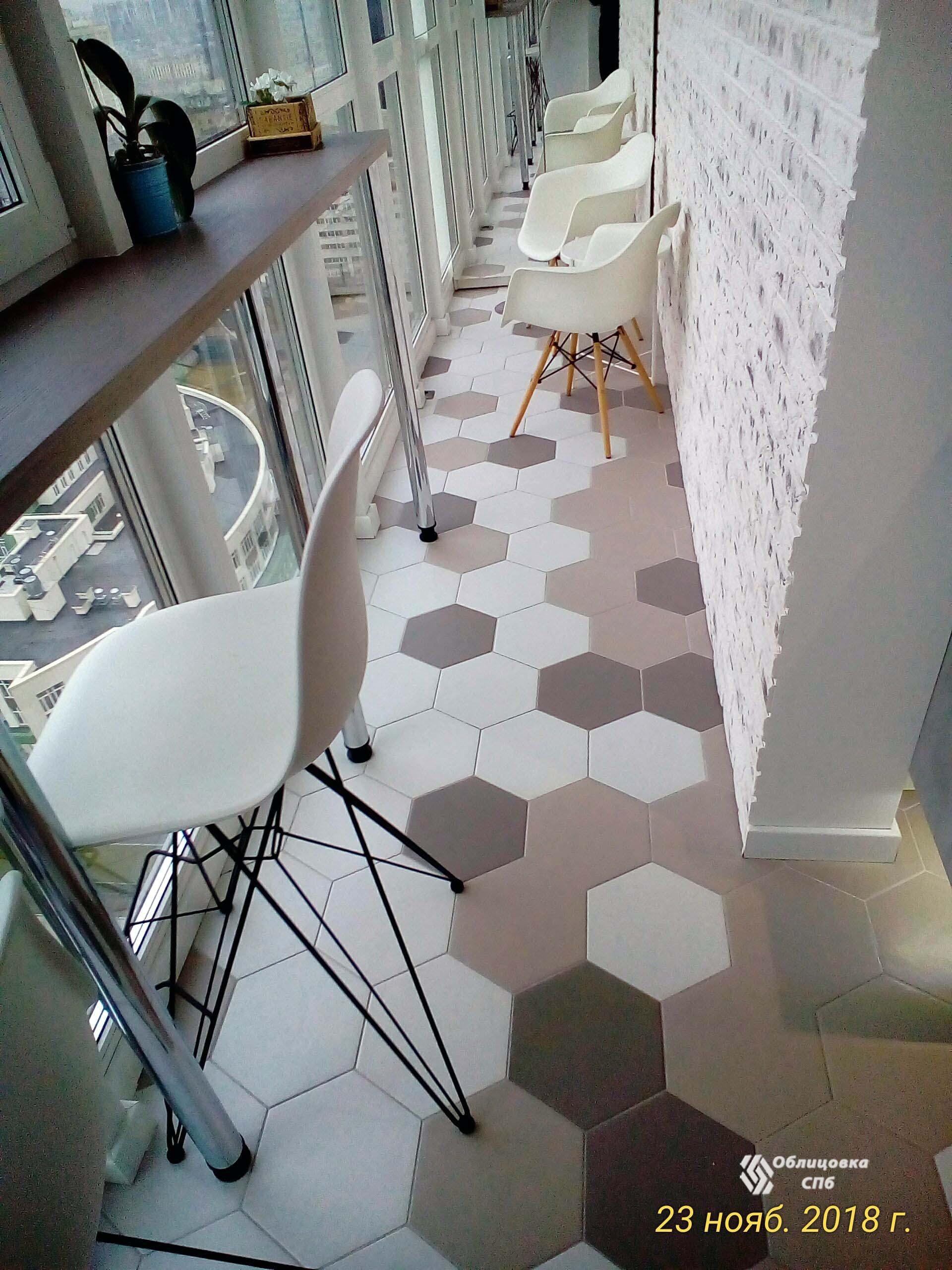 Облицовка пола кухни и лоджии плиткой шестигранной формы