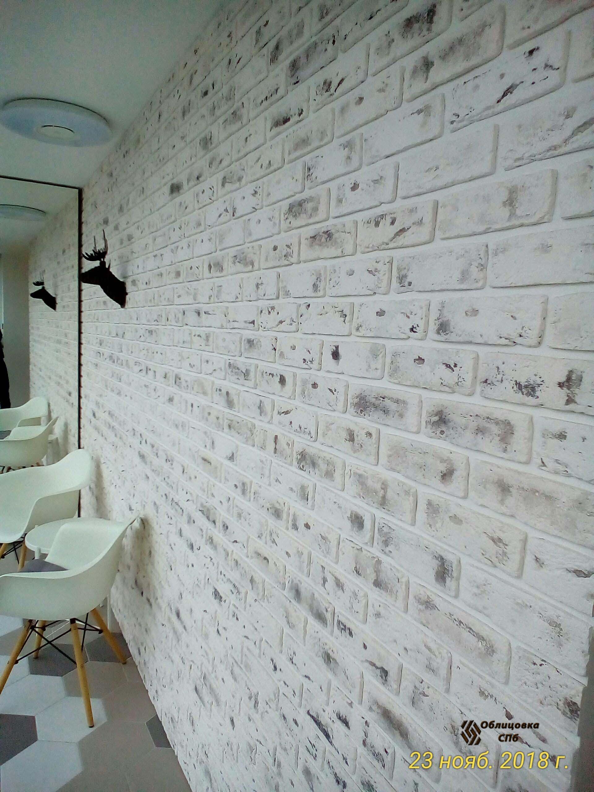 Облицовка стены лоджии клинкерной плиткой